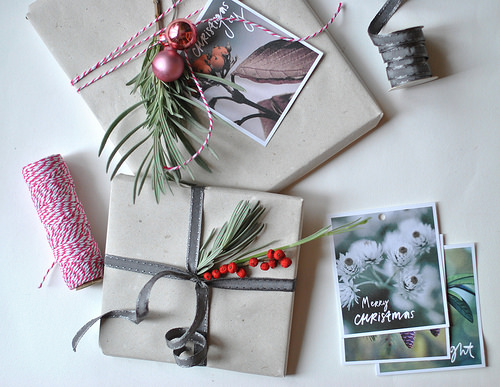 DIY Christmas packaging from the winter garden