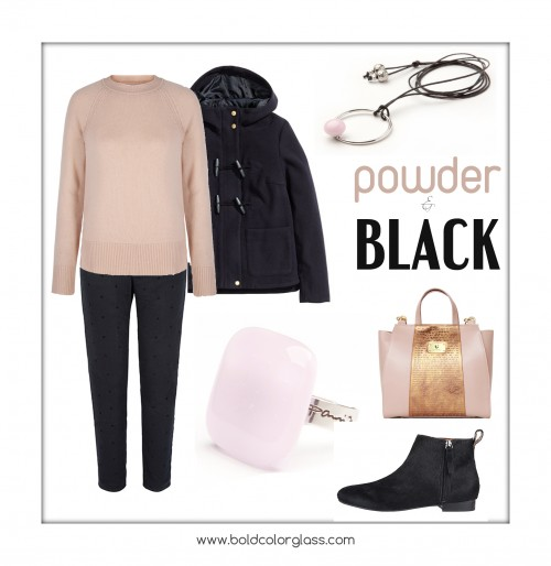 Powder pink and black outfit